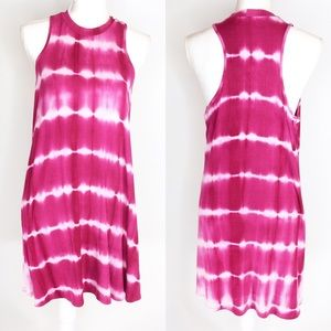 Papermoon Pink Tie Dye Dress Ribbed Fabric